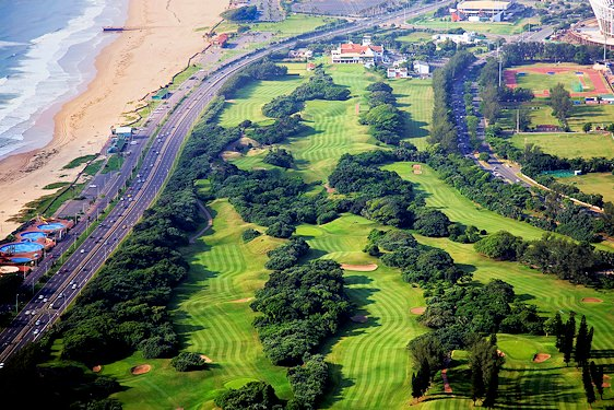 Moses Mabhida Stadium as seen from the Durban Country Club.