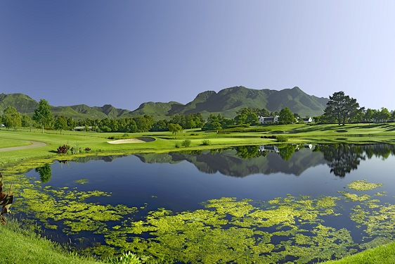 A stunning view of Fancourt Outeniqua fringed by the imposing Outeniqua Mountains.