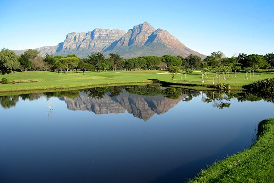 Table Mountain and Devil's Peak as seen from Mowbray Golf Course.