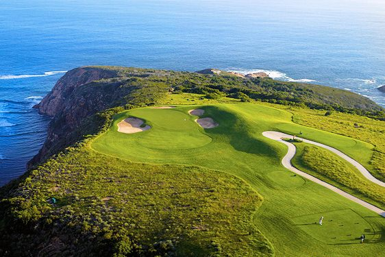 Oubaai Golf Course boasts breathtaking views of the Indian Ocean's rugged coastline.
