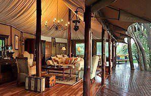 The spacious main deck at Hamiltons Tented Camp in Kruger.