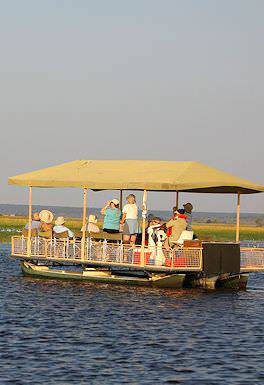 A river barge on the Chobe River in Botswana.