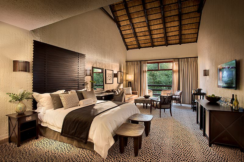 The inviting interior of a suite at Bakubung Bush Lodge.
