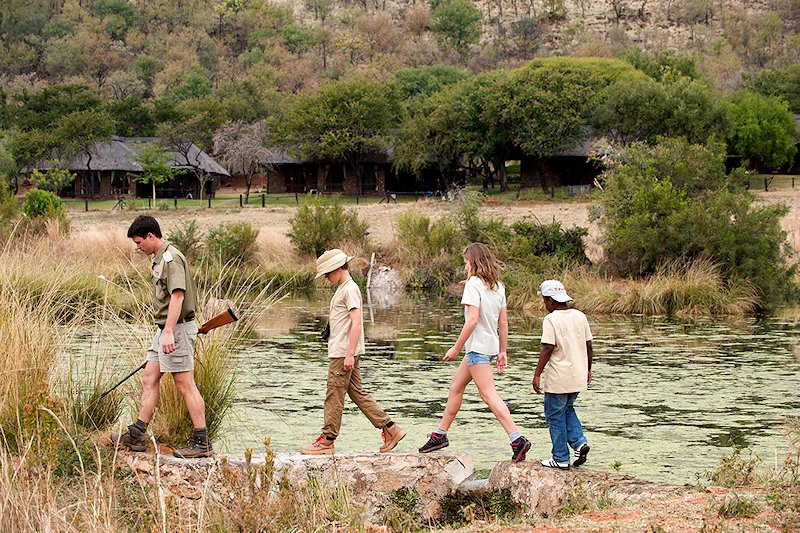 Guests at Bakubung enjoy a bush walk in Pilanesberg.