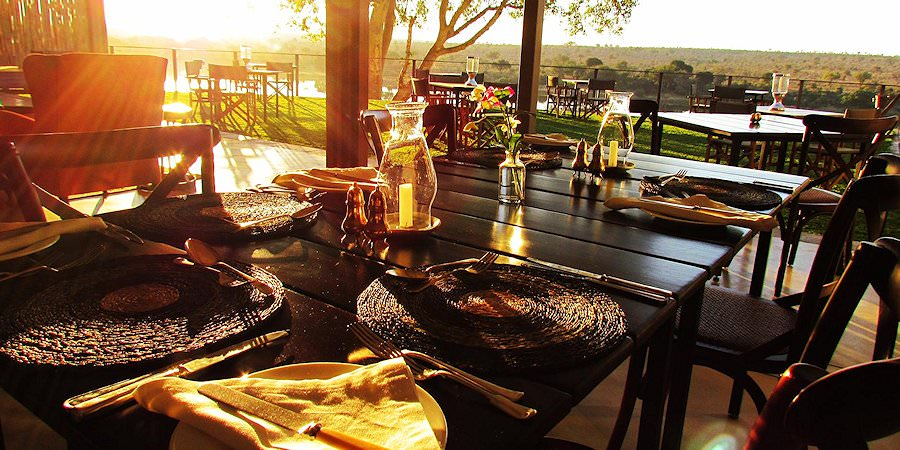Tables are prepared for dinner at Buhala Lodge.