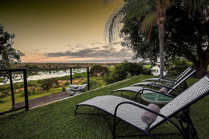 Outdoor furniture on the lawns of Buhala Lodge.