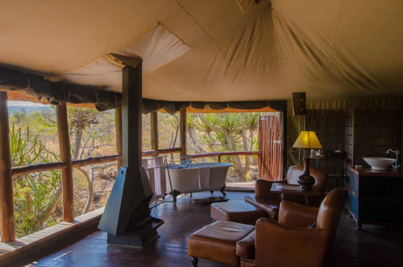 The interior of one of the suites at Camp Shonga.