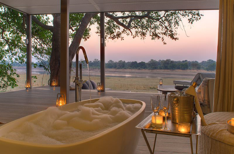 A sumptuous bubble bath prepared for a guest at Chinzombo.
