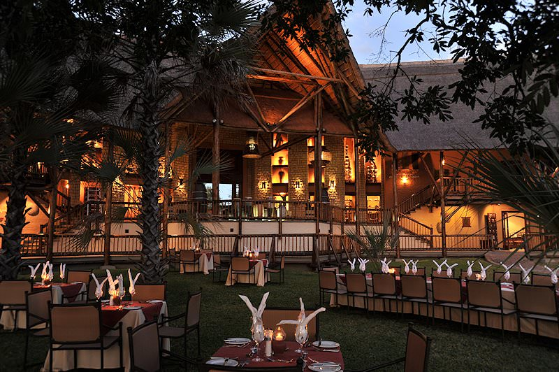 Dinner served under the stars at the David Livingstone Safari Lodge.