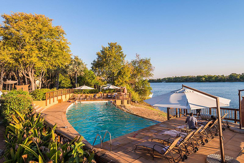 The swimming pool area at the David Livingstone Safari Lodge.