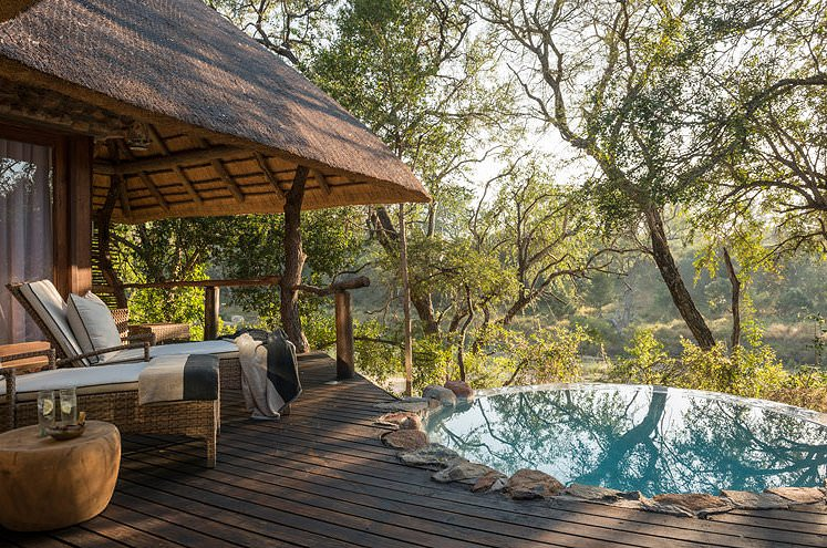 The private plunge pool and deck of a suite at Dulini Lodge.