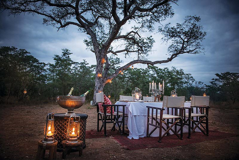 A bush dining experience host by Dulini Lodge.