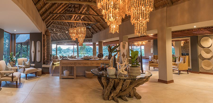 The elegant reception area at Dulini River Lodge.