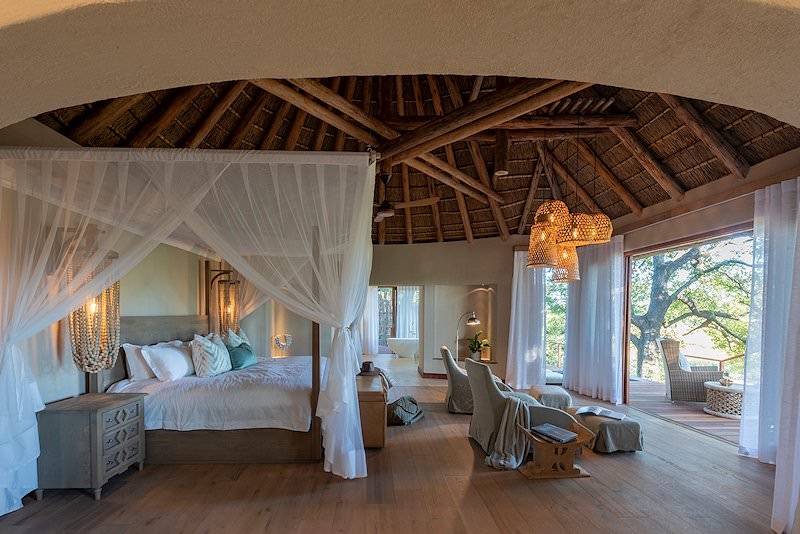 The interior of a suite at Dulini River Lodge.