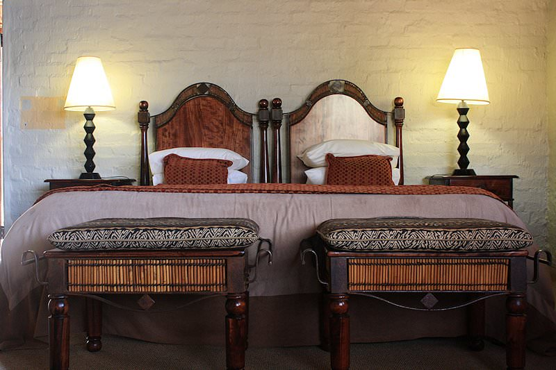 A close-up of one of the beds at Entabeni Lakeside Lodge.