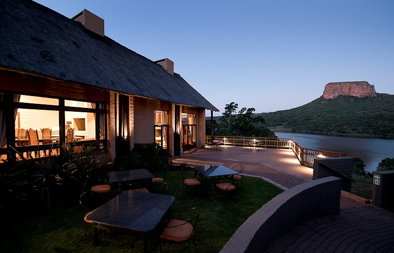 Entabeni Lakeside Lodge is lit up for the evening.
