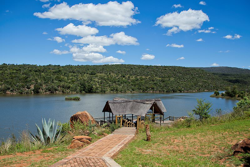 A birdhide on the water near Entabeni Lakeside Lodge.
