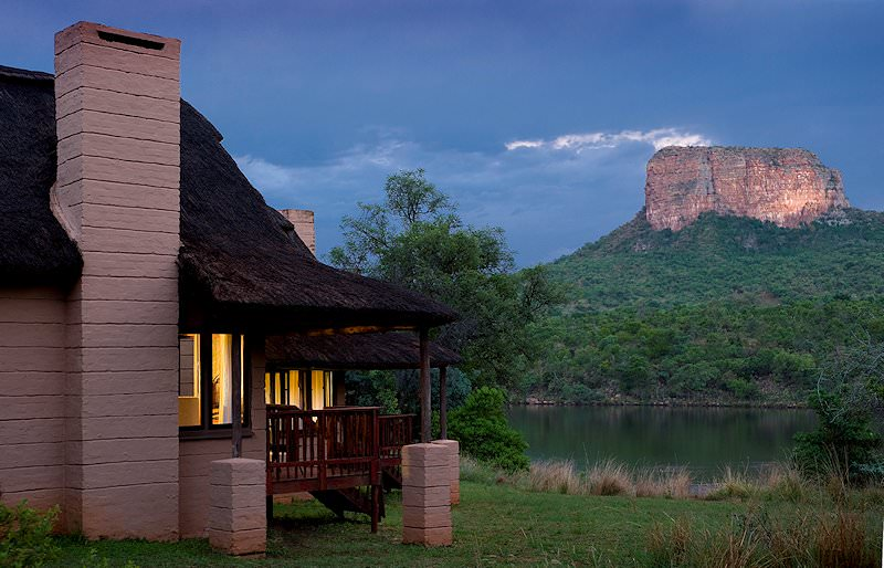 The exterior of a chalet at Entabeni Lakeside Lodge.