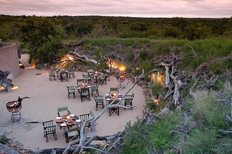A bird's eye view of the boma area at Sabi Sabi Earth Lodge.