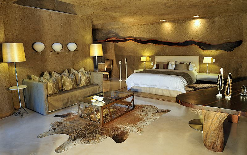 The interior of a suite at Sabi Sabi Earth Lodge.