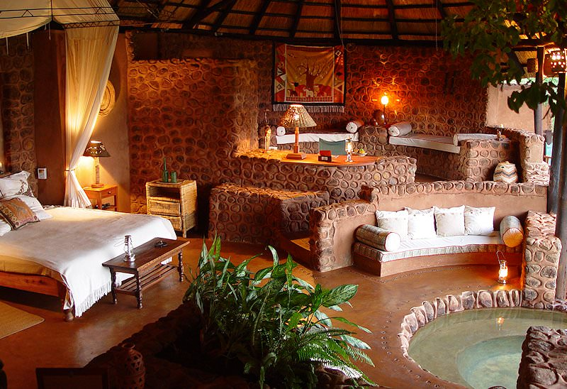 The interior of a suite at Stanley Safari Lodge.