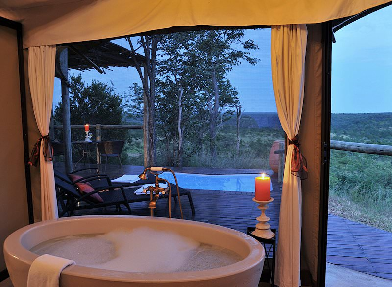 A sumptuous bubble bath prepared for guests at Elephant Camp.