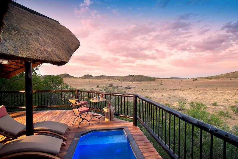 The private plunge pool and balcony of a suite at Tshukudu.