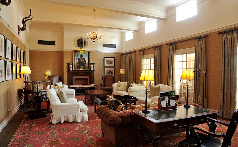 The elegant old-world lounge of the Victoria Falls Hotel.