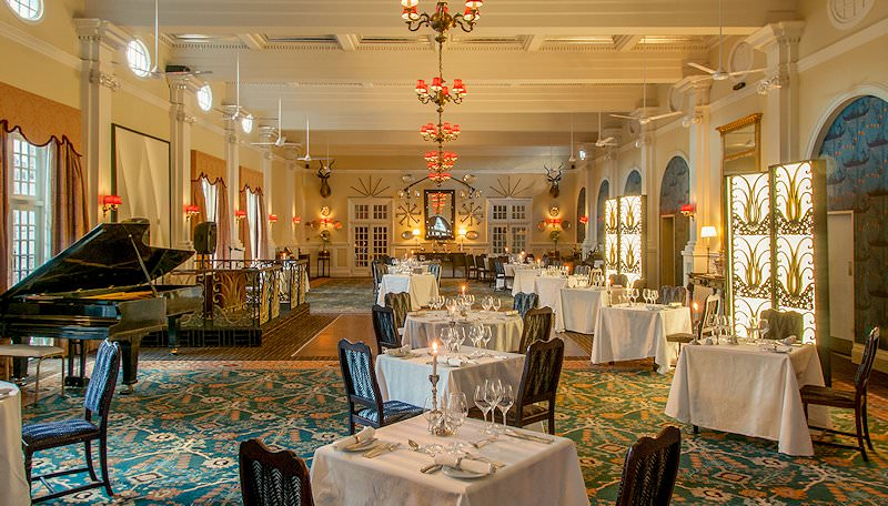 The elegant dining room at the Victoria Falls Hotel.