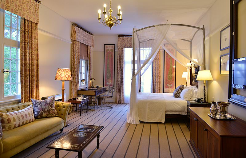 The interior of one of the rooms at the Victoria Falls Hotel.