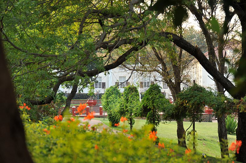 The mature gardens surrounding the Victoria Falls Hotel.
