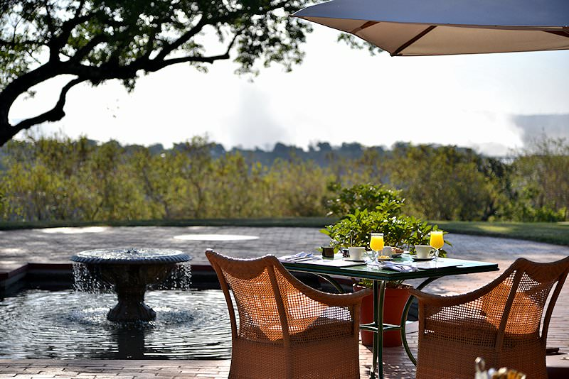 Breakfast with a view across the Zambezi River.