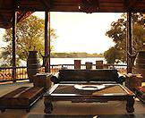 A guest area at a lodge that overlooks the Zambezi River.