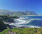 The cliff-lined shores of Walker Bay in South Africa's coastal Overberg region.