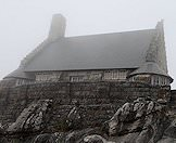The shop atop Table Mountain shrouded in mist.