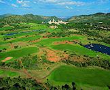 A dramatic aerial view of the Lost City Golf Course in Sun City.
