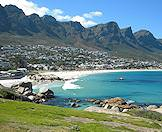 The Twelve Apostles mountain range as seen from Camps Bay beach.