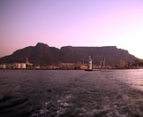 Table Mountain as seen from a sunset cruise on Table Bay.