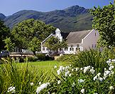 A traditional Cape Dutch homestead surrounded by manicured gardens.