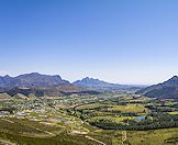 A panoramic view of the Cape winelands.