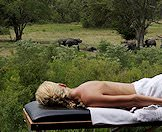A guest at Elephant Plains enjoys a massage with a view.