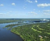 The Zambezi River with the Victoria Falls in the distance.