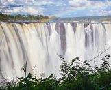 The Victoria Falls as seen from the Zimbabwean side of the Zambezi River.