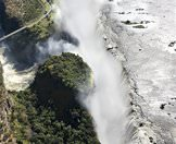 An aerial view of the Victoria Falls and the gorge below.