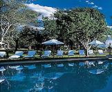The Royal Livingstone's pool on the edge of the Zambezi River.