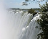 The Victoria Falls as seen from the Zambian side of the Zambezi River.