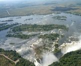 An aerial view of the Zambezi River and the Victoria Falls.