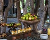 A range of snacks laid out for guests at a safari lodge.