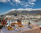 A scrumptious champagne breakfast with a view of Table Mountain.