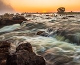 The Zambezi River where it flows into the Victoria Falls.